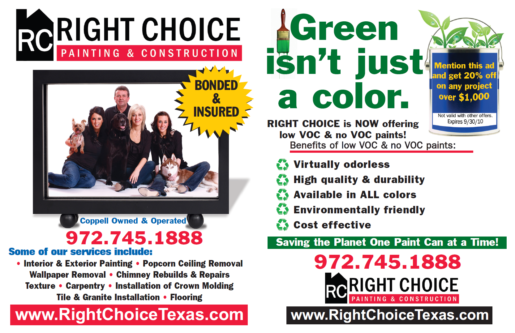 Right Choice Painting & Construction Green Campaign