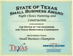 Right Choice Painting and Construction recognized by the Governor and TWC