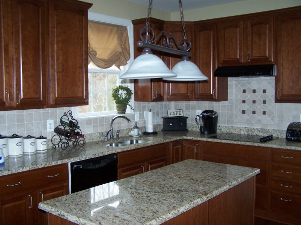 light granite cons gray kitchen vertical subway dark pros oak white countertop with cabinets countertops cherry backsplash grey lighting and